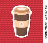 sticker of coffee to go on red... | Shutterstock .eps vector #695264551