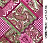 seamless patchwork pattern with ... | Shutterstock .eps vector #695266501