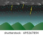heavy rain  lightning  on the... | Shutterstock .eps vector #695267854