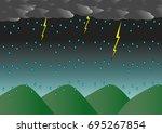 heavy rain  lightning  on the... | Shutterstock .eps vector #695267854