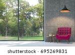 Loft Style Living Room 3d...