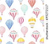 Cute Balloon Watercolor Patter...