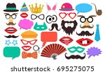 party birthday photo booth props | Shutterstock .eps vector #695275075