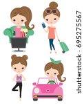 vector of woman life activity... | Shutterstock .eps vector #695275567