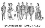 ladies and gentlemen. Man and woman figure collection. Vintage Hand Drawn Set. Clothing. Retro Illustration in ancient engraving style | Shutterstock vector #695277169
