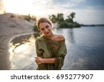 beautiful young woman portrait... | Shutterstock . vector #695277907