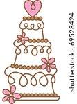 retro wedding cake | Shutterstock .eps vector #69528424