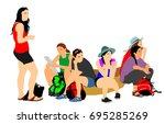 tired tourist girls traveler... | Shutterstock .eps vector #695285269