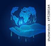 wireframe hand holding digital... | Shutterstock .eps vector #695288164