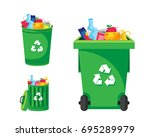 modern green recycle garbage... | Shutterstock .eps vector #695289979