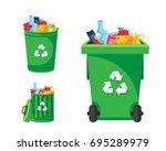 Modern Green Recycle Garbage...