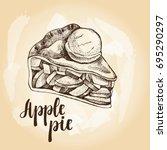 piece of apple pie with scoop...   Shutterstock .eps vector #695290297