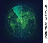 radar screen and world map in...   Shutterstock .eps vector #695292835