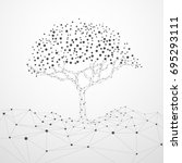 wireframe tree with technology... | Shutterstock .eps vector #695293111