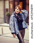 beautiful woman. city scenes....   Shutterstock . vector #695294899