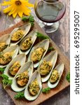 baked green mussels with garlic ... | Shutterstock . vector #695295007