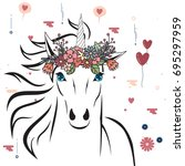 unicorn with flower crown.... | Shutterstock .eps vector #695297959