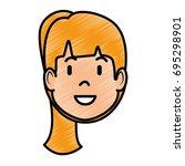 woman profile cartoon | Shutterstock .eps vector #695298901