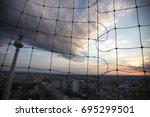 alexanderplatz tv tower berlin... | Shutterstock . vector #695299501