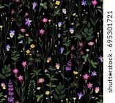 meadow flower pattern on  back... | Shutterstock .eps vector #695301721