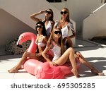 fashion outdoor photo of... | Shutterstock . vector #695305285