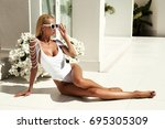 fashion outdoor photo of... | Shutterstock . vector #695305309