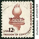 Small photo of MOSCOW, RUSSIA - MARCH 27, 2013: A stamp printed in USA shows Torch of Enlightenment, Freedom of conscience, an american right, Americana Issue, 1975