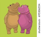 Loving Couple Of Hippos. Vector ...