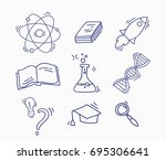 set of hand drawn school icons. | Shutterstock .eps vector #695306641