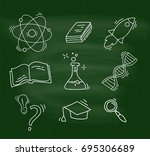 set of hand drawn school icons. | Shutterstock .eps vector #695306689