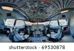 A300 jetliner cockpit wide angle - stock photo