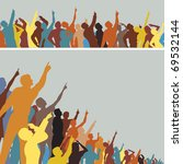 Two colorful editable vector silhouettes of crowds pointing and looking upwards - stock vector