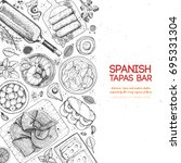 spanish tapas  top view. a set... | Shutterstock .eps vector #695331304