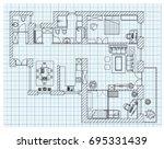 black and white floor plan... | Shutterstock .eps vector #695331439