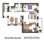 colorful floor plan of a house. | Shutterstock .eps vector #695331454