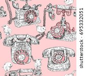 seamless pattern with image of... | Shutterstock .eps vector #695332051