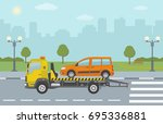 orange car on tow truck  on... | Shutterstock .eps vector #695336881