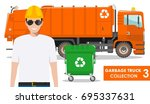 garbage truck collection.... | Shutterstock .eps vector #695337631