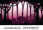 illustration of dark forest ... | Shutterstock .eps vector #695338429