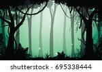 illustration of deep forest ... | Shutterstock .eps vector #695338444