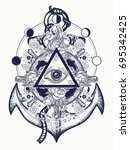 all seeing eye tattoo art... | Shutterstock .eps vector #695342425