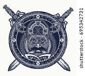 viking and crossed swords... | Shutterstock .eps vector #695342731