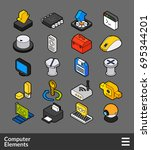 isometric outline color icons ... | Shutterstock .eps vector #695344201