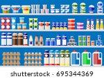 showcase fridge for cooling... | Shutterstock .eps vector #695344369