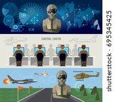 modern military center radar... | Shutterstock .eps vector #695345425