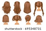 beautiful  hairstyle brown hair ... | Shutterstock .eps vector #695348731
