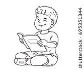 boy reading   Shutterstock .eps vector #695351344