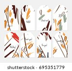 hand drawn creative tags.... | Shutterstock .eps vector #695351779