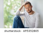 portrait of handsome thoughtful ... | Shutterstock . vector #695352805