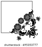 black and white silhouette ... | Shutterstock . vector #695353777